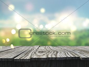 3D wooden table looking out to a defocussed landscape
