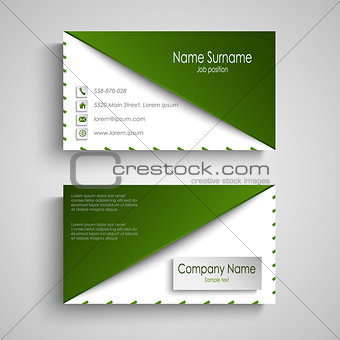 Business card with white green design triangle template