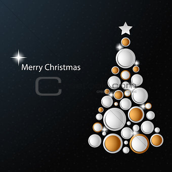 Christmas card with abstract golden white tree template