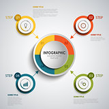 Info graphic with round colored design elements