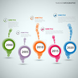 Time line info graphic with colored abstract round speech bubbles