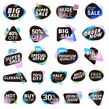 Set of stickers and discount tags for sale, product promotion, special offer, shopping
