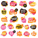 Set of stickers and badges, product promotion, special offer, shopping