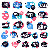 Set of colorful eye-catching stickers and badges, product promotion, special offer, shopping