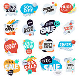 Unique collection of stickers and badges for sale, product promotion, special offer, shopping
