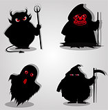 Set of halloween characters. Vector illustration, icons, clip ar