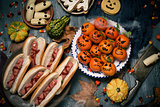funny halloween food on a rustic table