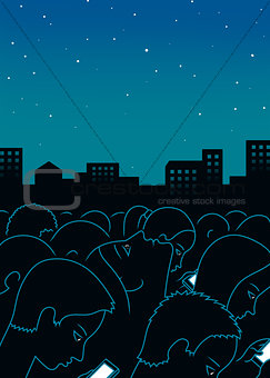 Night city art print background