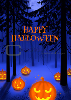Happy Halloween illustration poster or postcard