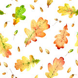 Watercolor fallen oak leaves hand drawn seamless pattern