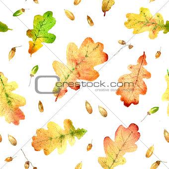 Watercolor fallen oak leaves hand drawn seamless pattern