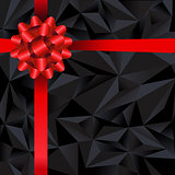 Black Origami Banner With Red Ribbon Bow