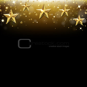Christmas Card With Golden Star