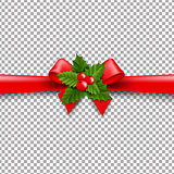 Christmas Ribbon Bow With Holly Berry