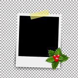 Photo Frame With Xmas Holly Berry