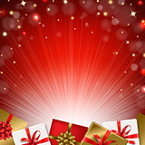 Red Sunburst Background With Gift Box