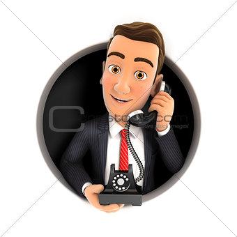 3d businessman making phone call inside circular hole