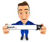 3d mechanic holding a search bar