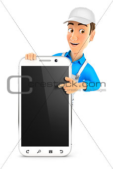 3d painter pointing to blank smartphone