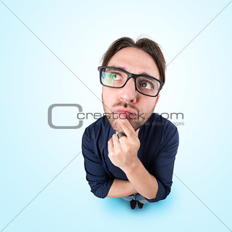 Funny man with thoughtful expression
