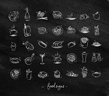 Food vintage icons chalk