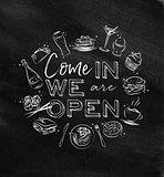 Monogram we are open chalk