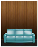 Wooden wall and blue sofa in front - vector illustration