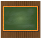 Green board on brown wooden background. Vector illustration