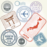 Travel stamps set Japan and Tokyo theme (with inscription Japan