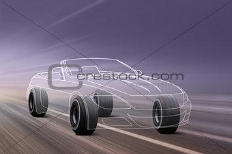 3D illustration of sport car