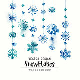 Winter Watercolor Snowflakes