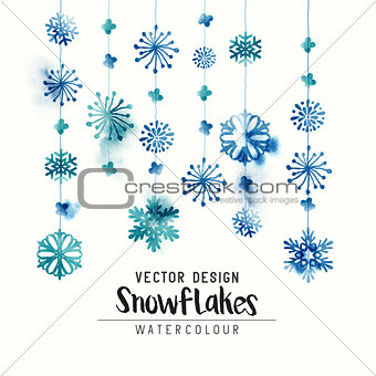 Winter Watercolor Snowflakes