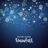 Snow storm effect with falling snowflakes