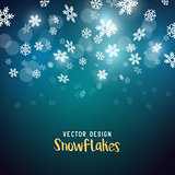 slowly falling Christmas snowflakes background