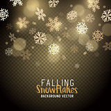 Gold christmas winter snowflakes background