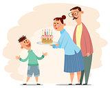 Parents congratulate son's birthday