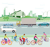 Traffic and environment, illustration