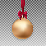 Gold Christmas Ball with Ball and Ribbon on Transparent Background Vector Illustration