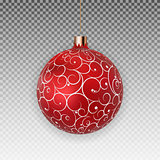 Christmas Ball with Ball and Ribbon on Transparent Background Vector Illustration