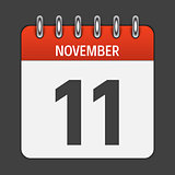 November 11  Calendar Daily Icon. Vector Illustration Emblem. El