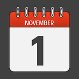 November 1  Calendar Daily Icon. Vector Illustration Emblem. Ele