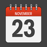November 23 Calendar Daily Icon. Vector Illustration Emblem. Ele