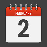 February 2 Calendar Daily Icon. Vector Illustration Emblem. Elem