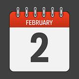 February 2 Calendar Daily Icon. Vector Illustration Emblem. Elem