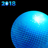 2018 background with blue disco ball and date