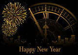 Happy New Year Greeting with Clock