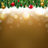 Christmas Border With Golden Background