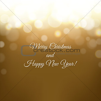 Christmas Card With Golden Background