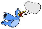 Cartoon blue bird speaking