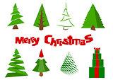 Different Christmas trees illustration